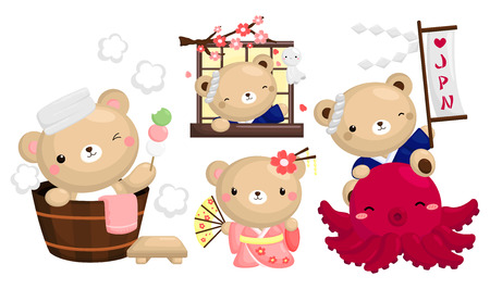 cartoon wood bucket: Japan Bear Vector Set