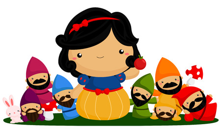 seven: Princess and seven dwarfs Illustration
