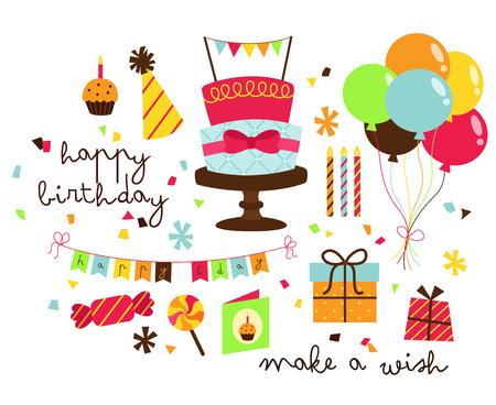 cartoon birthday cake: Birthday Vector Set