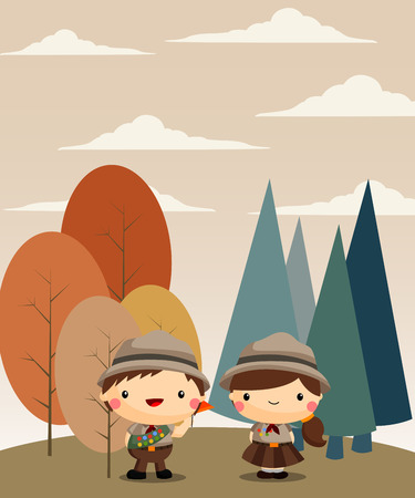 Boy and Girl Scouts at the Forest Illustration