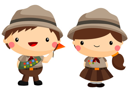 boys happy: Boy and Girl Scouts Illustration