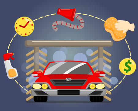 dirty car: Car Wash Illustration
