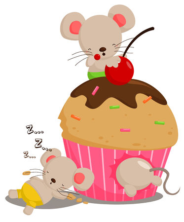 sleeping animals: Mice Love Cupcake