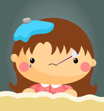 ragazza malata: Ragazza ammalata Vettoriali