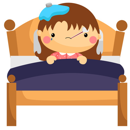 cartoon bed: Sick Girl in Bed