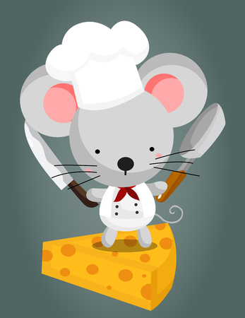 mouse hole: Mouse and Cheese Illustration