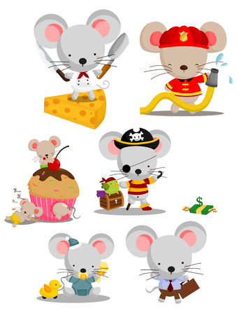 frying pan: Mouse Vector Set