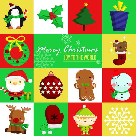winter cherry: Merry Christmas Square Illustration