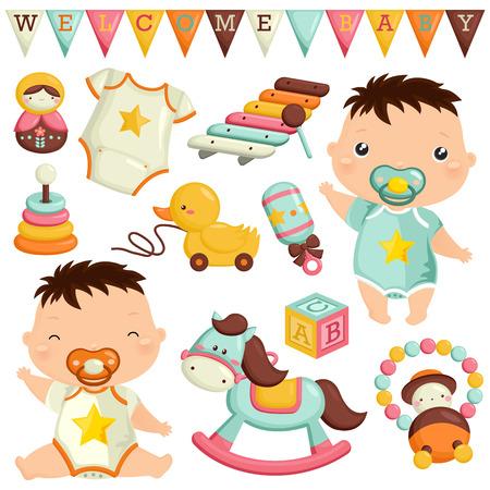 Baby Speelgoed Vector Set Stock Illustratie