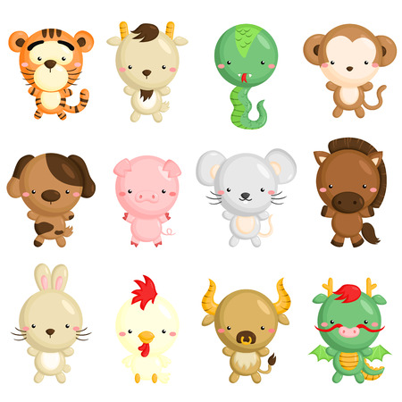 Chinese Zodiac Animals Stock Illustratie