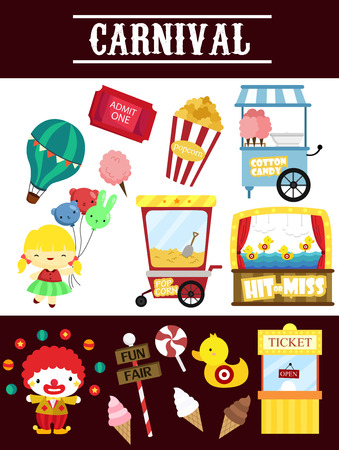 cotton candy: Carnival Vector Set