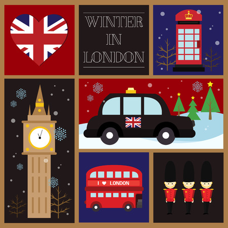 London Winter Square Card Vector