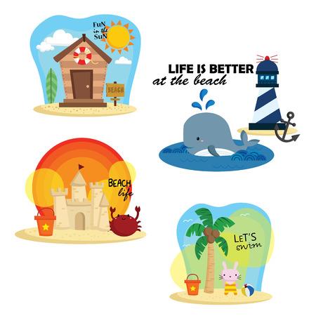 coastal: Beach Cartoon Vector Set