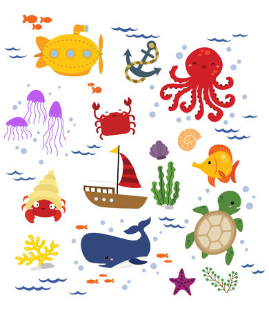 cartoon submarine: Under The Sea Vector Set