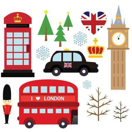 british army: Winter in London Vector Set Illustration