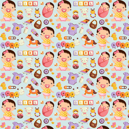 baby doll: Baby Girl Pattern Background Illustration