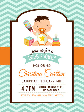 Baby Shower Boy Invitation Vector