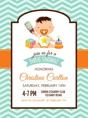 chevron background: Baby Shower Boy Invitation