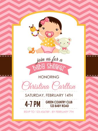 Baby Shower Girl Invitation Vector