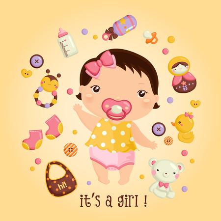 baby girl cartoon: It\\\\ Illustration
