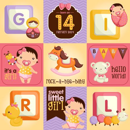 pink girl: Baby Girl Square Card