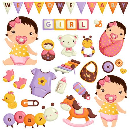赤ちゃんの女の子のベクトルのセット  イラスト・ベクター素材