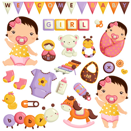 caballo bebe: Baby Girl Vector Set Vectores