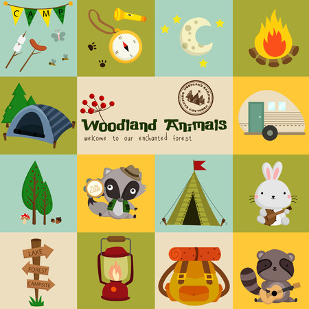camping tent: Square Woodland Animal Camping vector Set