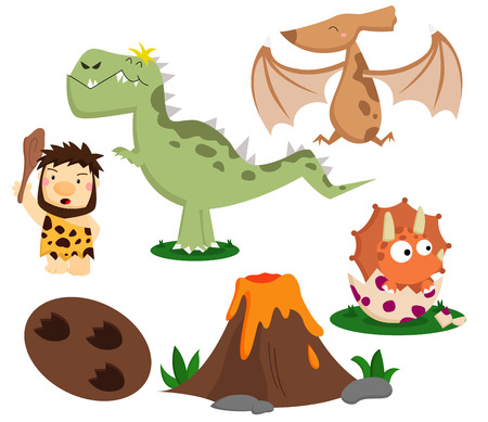 dinosaur cute: Prehistoric Vector Set