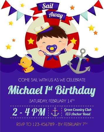cartoon baby boy: Nautical Boy Birthday Invitation Illustration