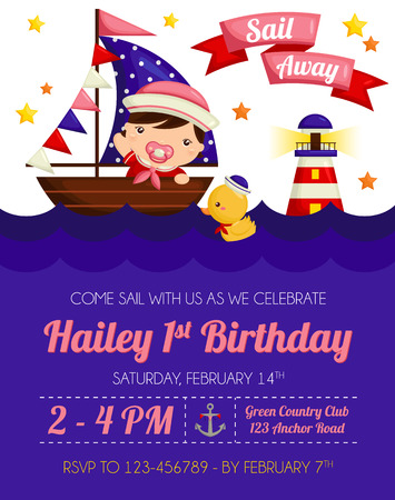 girl birthday: Nautical Girl Birthday Invitation