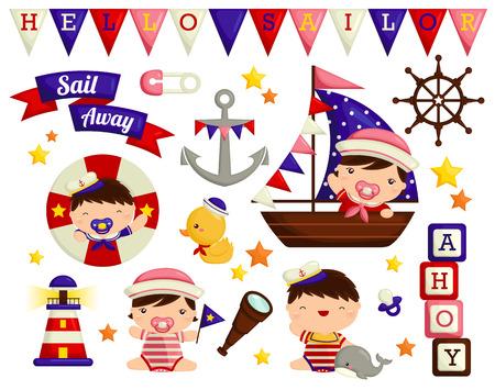 marinero: Beb� n�utica Vector Set Vectores