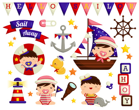 nautical vessel: Nautical baby Vector Set Illustration