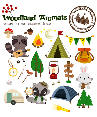 cartoon rabbit: Woodland Animal Camping Vector Set Illustration