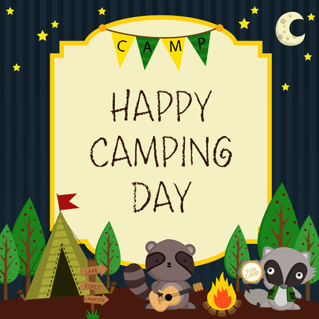 Happy Camping Day Card Illustration