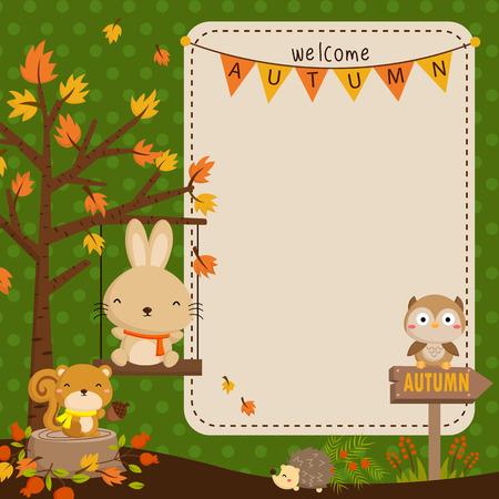 Herfst bos dierlijke kaart Stock Illustratie
