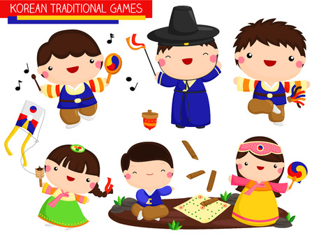 Korean Traditional Games Vector Set Çizim