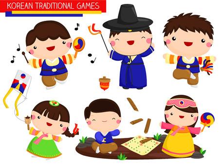 Korean Traditional Games Vector Set Illustration