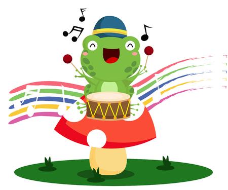drummer: Drummer Frog Illustration