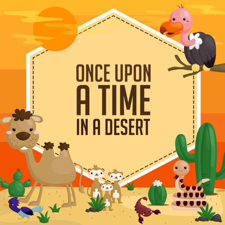 Desert Animal Card Vector
