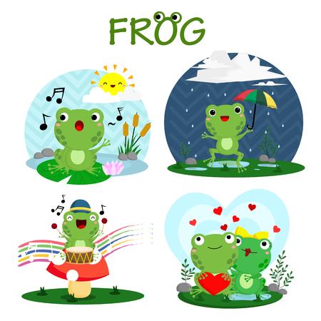 Happy Frog Vector Set Vector