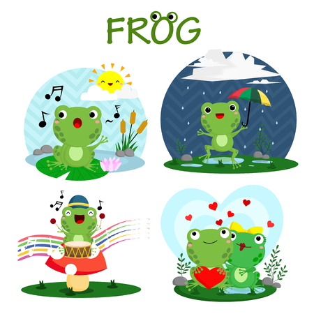 pad  lily: Happy Frog Vector Set