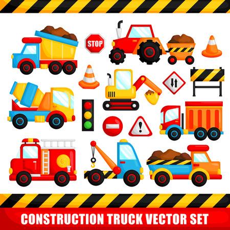 camion caricatura: Construcci�n Cami�n Vector Set