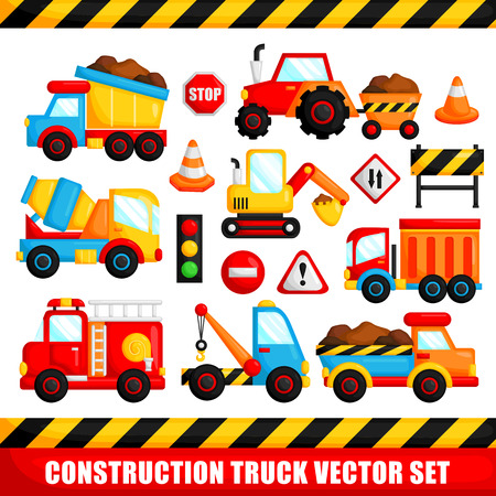 Construction Truck Vector Set Vector