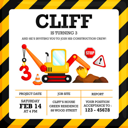 Construction Birthday Invitation Illustration