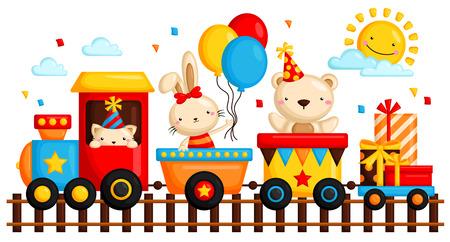 생일 기차 일러스트