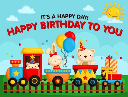 grass cartoon: Birthday Train Card Illustration