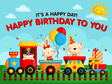 Birthday Train Card Vettoriali