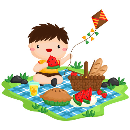 Picnic Boy Stock Illustratie