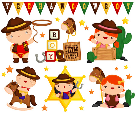 Cowboy Kids Vector Set